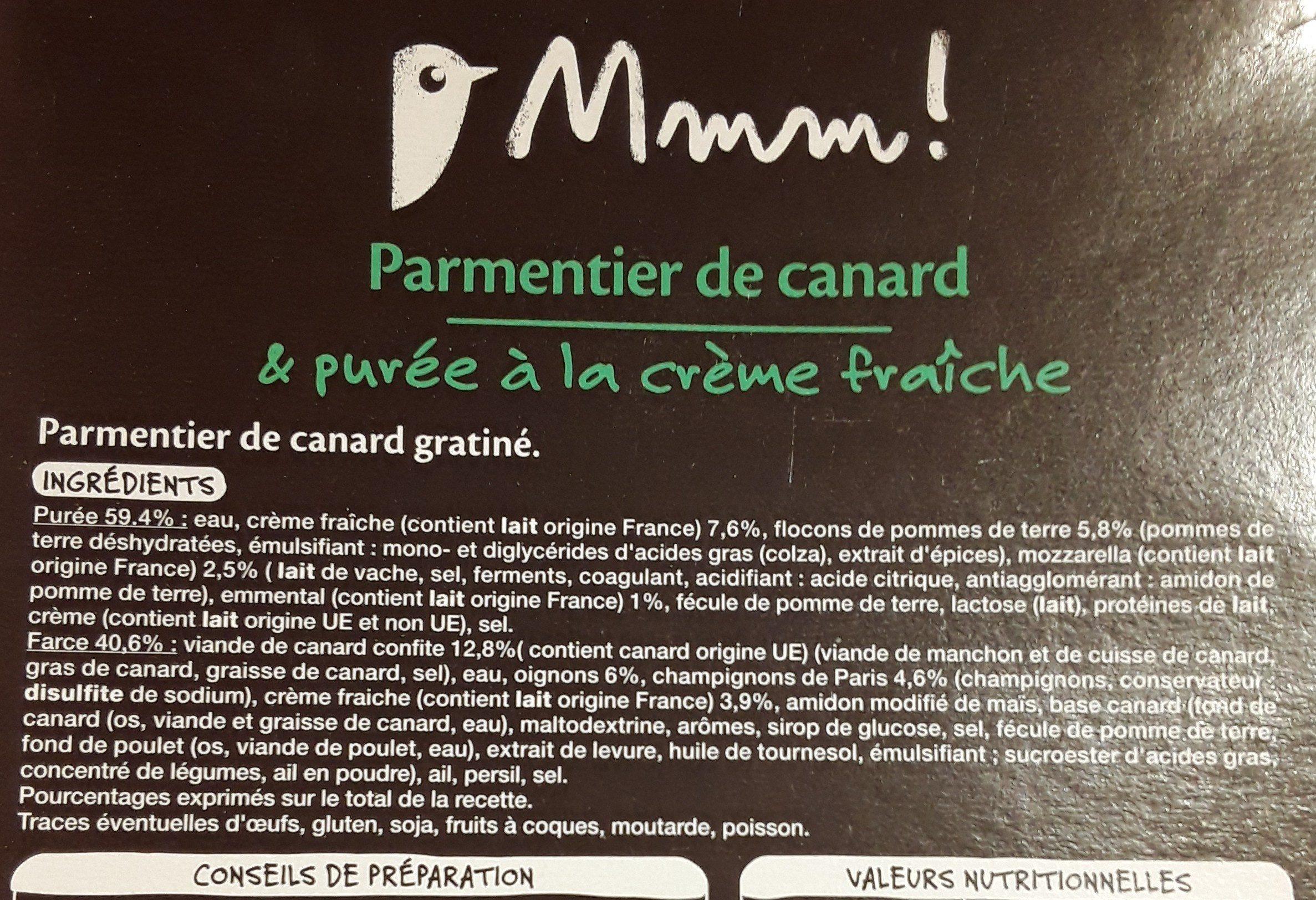 Parmentier de canard gratiné - Ingredienti - fr