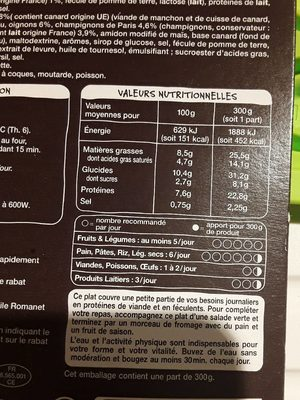 Parmentier de canard gratiné - Valori nutrizionali - fr