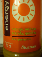 Energy orange, mangue, acérola,guarana pasteurisé - Ingrediënten
