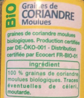 Bio coriandre moulue flacon verre - Ingrédients