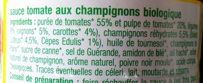 Sauce tomate aux Champignons - Ingrédients