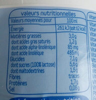 baby croissance - Informations nutritionnelles