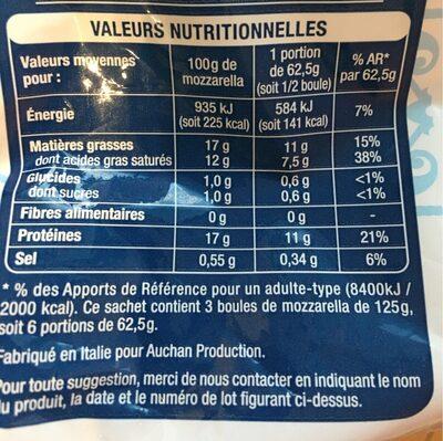 Mozzarella - Nutrition facts - fr