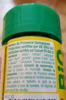 Herbes de Provence bio - Voedingswaarden - fr