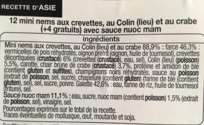 Mini nems crevettes, lieu, crabe - sauce nuoc nam - Ingredients - fr