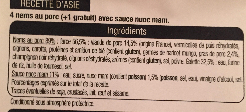 Nems porc - Ingredients