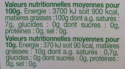 Huile Vierge de Colza - Informations nutritionnelles - fr