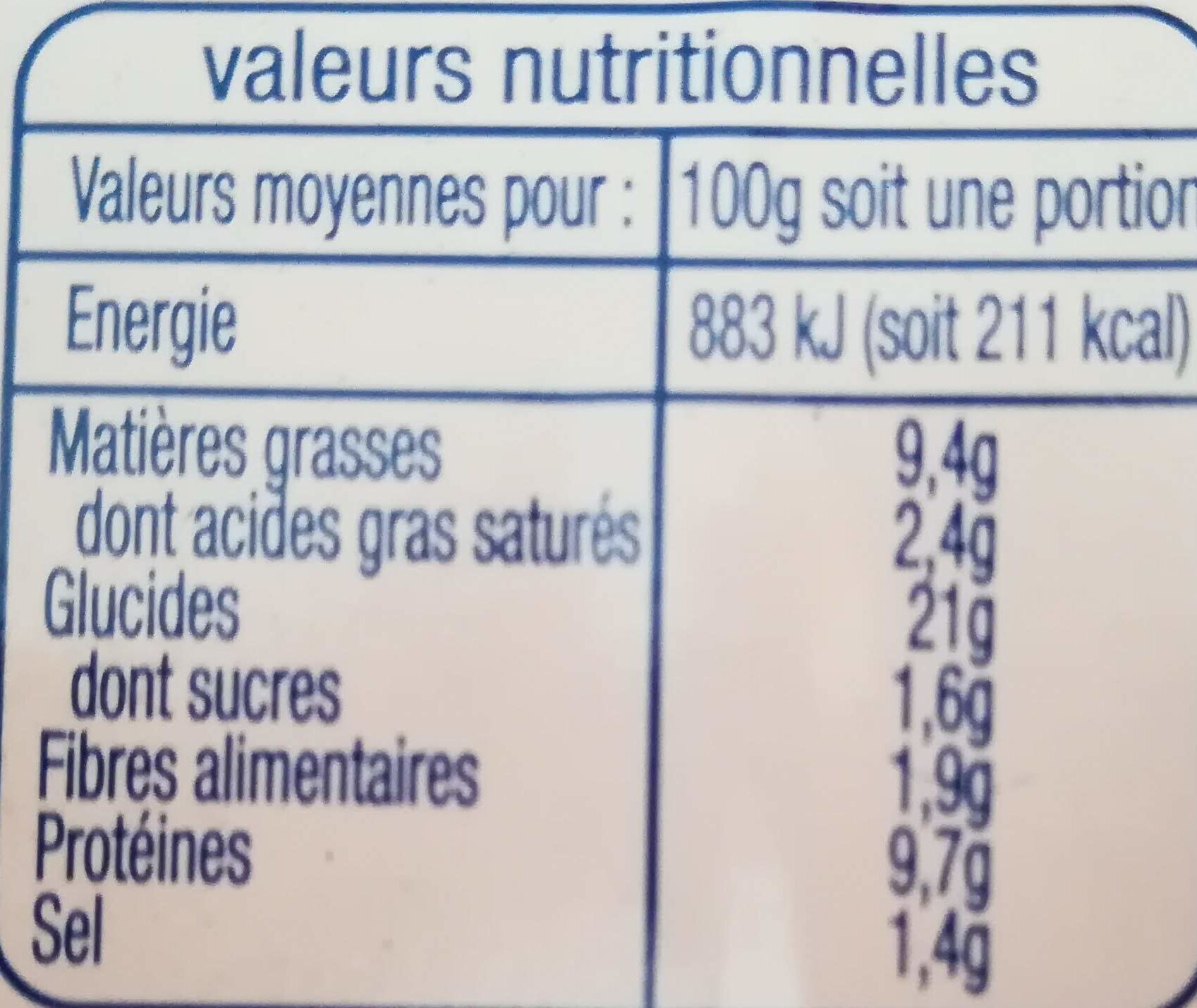 Les P'tits panés, poisson au fromage fondu - Informations nutritionnelles - fr