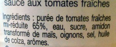 Sauce aux tomates fraîches - Ingredients - fr