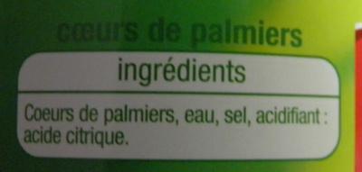 Coeurs de palmiers Auchan - Ingrédients