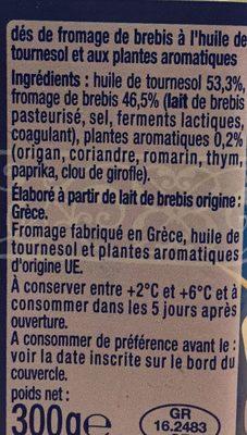 Dès de fromage de Brebis A l'huile et aux aromates. 24.2% de M.G - Ingrédients