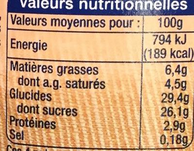Mousse Crème Marron - Informations nutritionnelles - fr