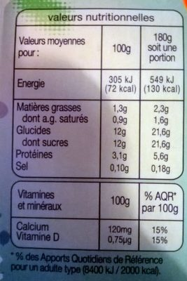 Yaourt à boire - Nutrition facts - fr