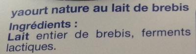 Yaourt au lait de Brebis nature (2 Pots) - Ingredients - fr