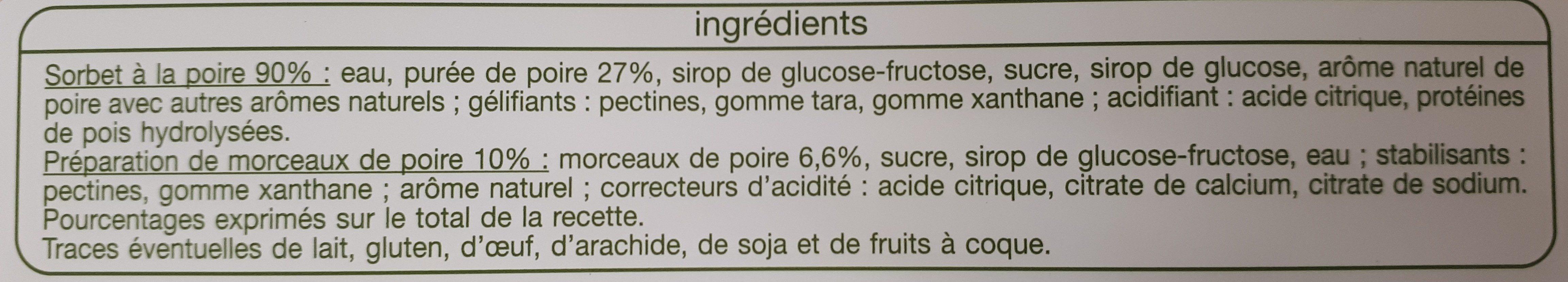 Sorbet Poire Morceaux de Poire - Ingredients