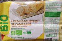 2 demi baguettes de campagne bio - Produit - fr