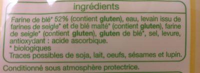 2 demi baguettes de campagne bio - Ingrédients - fr