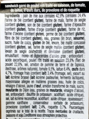Pain de mie aux céréales Poulet Caesar - Ingrédients - fr