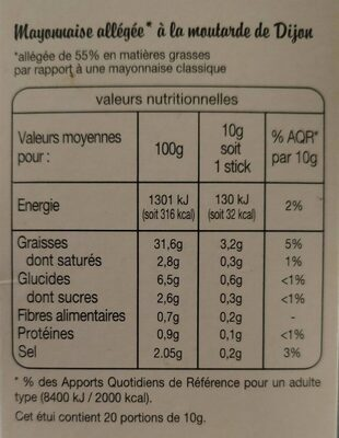 Mayonnaise allegée (doses individuelles) Auchan - Nutrition facts - fr