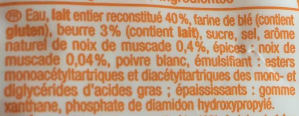 Sauce Bechamel doypack - Ingrediënten - fr