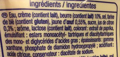 Sauce hollandaise doypack - Ingrédients