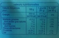 Multi Variétés - Informations nutritionnelles - fr