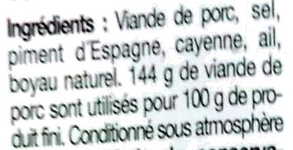 Véritable chorizo espagnol extra fort - Ingrédients - fr