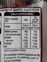Véritable chorizo espagnol extra fort - Informations nutritionnelles - fr