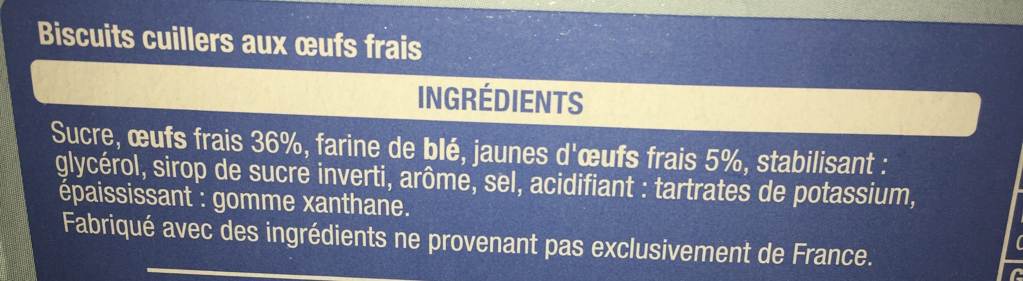 Biscuits cuillers degustation x15 - Ingrédients