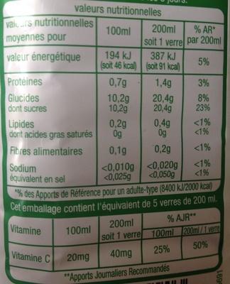 Pur jus orange sans pulpe - Información nutricional