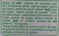 Cookies pépites de chocolat - Ingrédients
