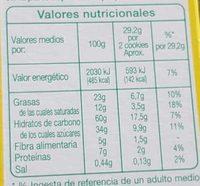 Cookies pépites de chocolat - Informations nutritionnelles