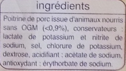 Lardons Fumés (-25 % de sel) - Ingrédients - fr