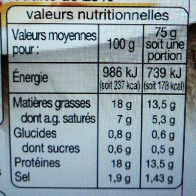 Allumettes Fumées (-25 % de sel) - Informations nutritionnelles - fr