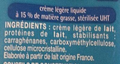 Crème fluide légère - Ingrédients - fr