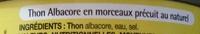 Thon albacore au naturel en morceaux - Pouce (Auchan) - Ingrédients - fr