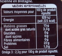 Sardines à l'ancienne millésime 2019 à l'huile d'olive vierge extra - Informations nutritionnelles - fr