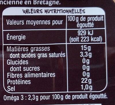 Sardines à l'ancienne millésime 2019 à l'huile d'olive vierge extra - Informations nutritionnelles