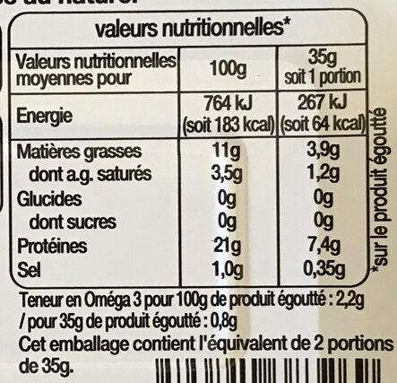 Filets de sardines au naturel - Nutrition facts - fr