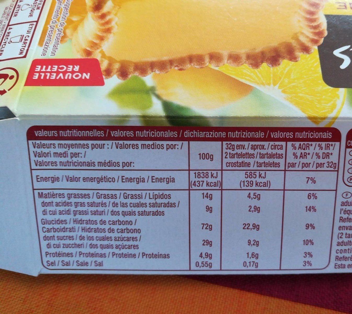 Tartelettes Citron (8 biscuits) - Nutrition facts
