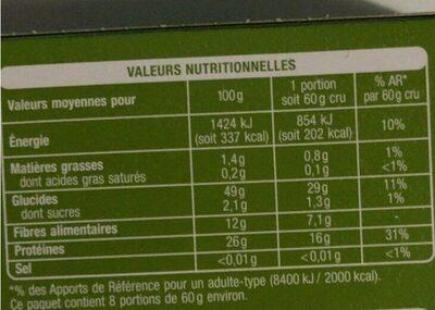Lentilles corail - 500 g - Auchan - Voedingswaarden - fr