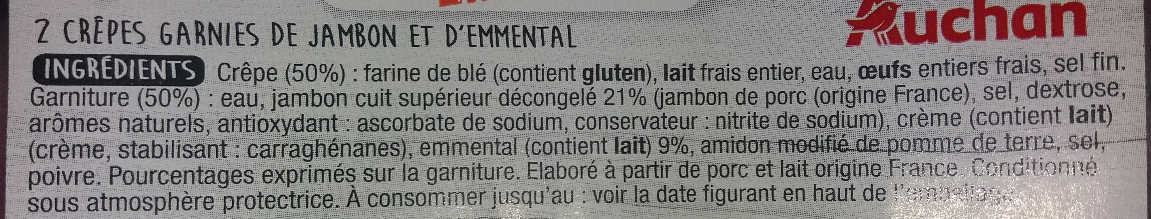 2 Crêpes Jambon Emmental - Ingrédients - fr