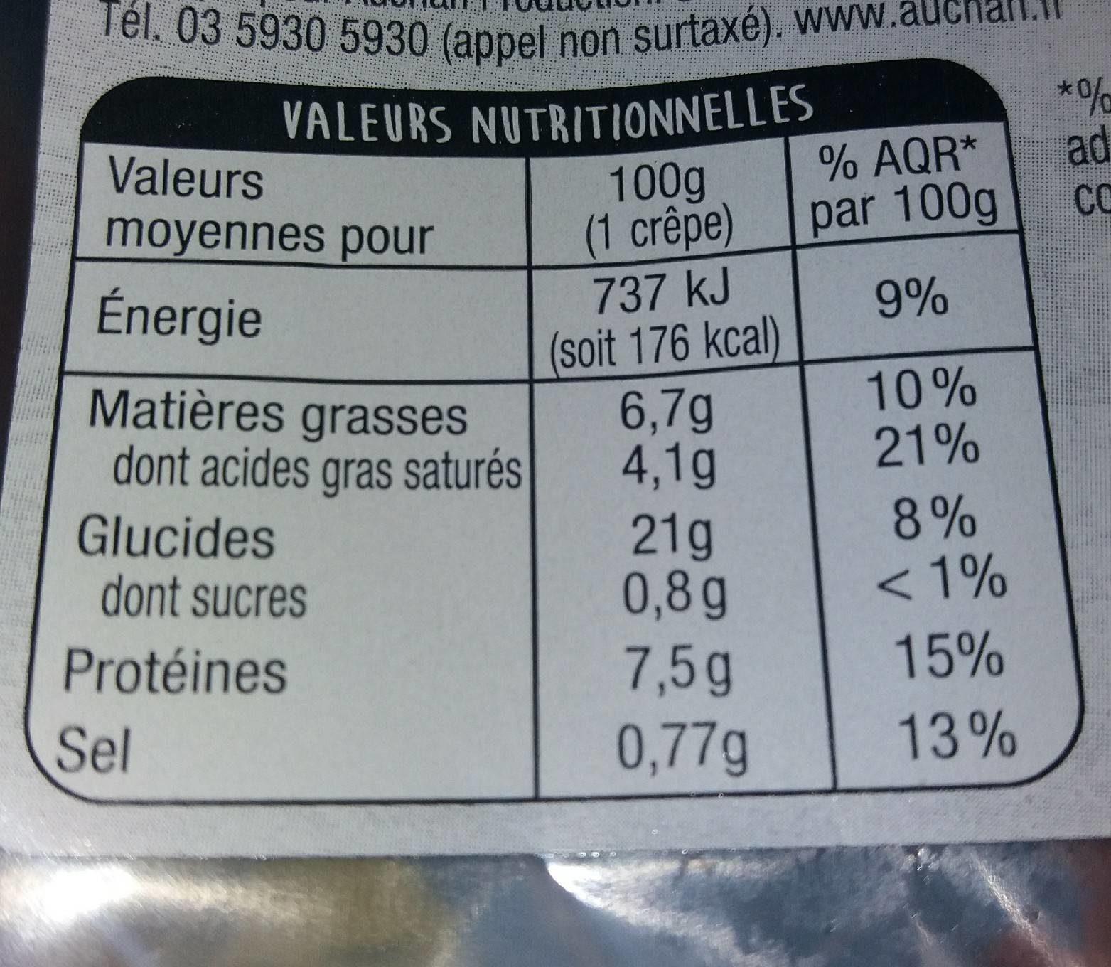 2 Crêpes Jambon Emmental - Informations nutritionnelles - fr