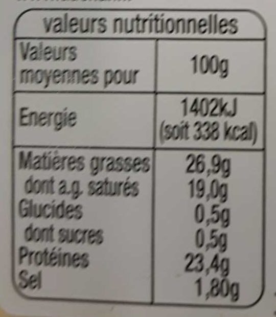 Raclette nature - Nährwertangaben - fr