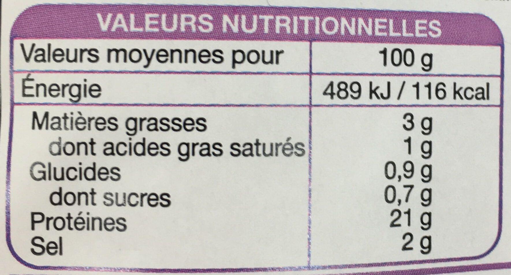 Jambon cuit supérieur 4 tranches sans couenne (240g) - Voedigswaarden