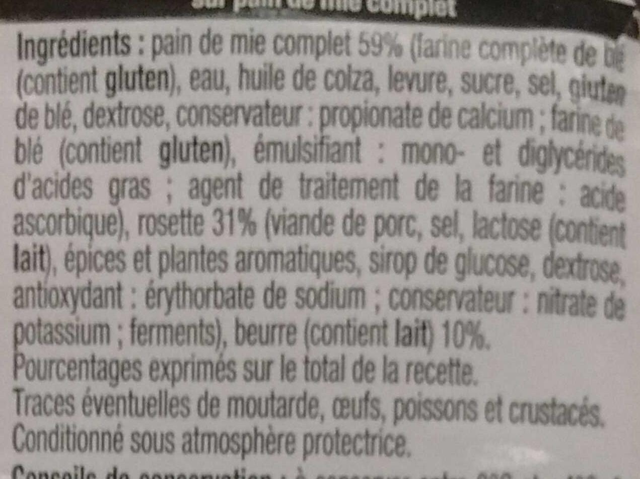 Pause Snack Rosette - Ingrédients - fr