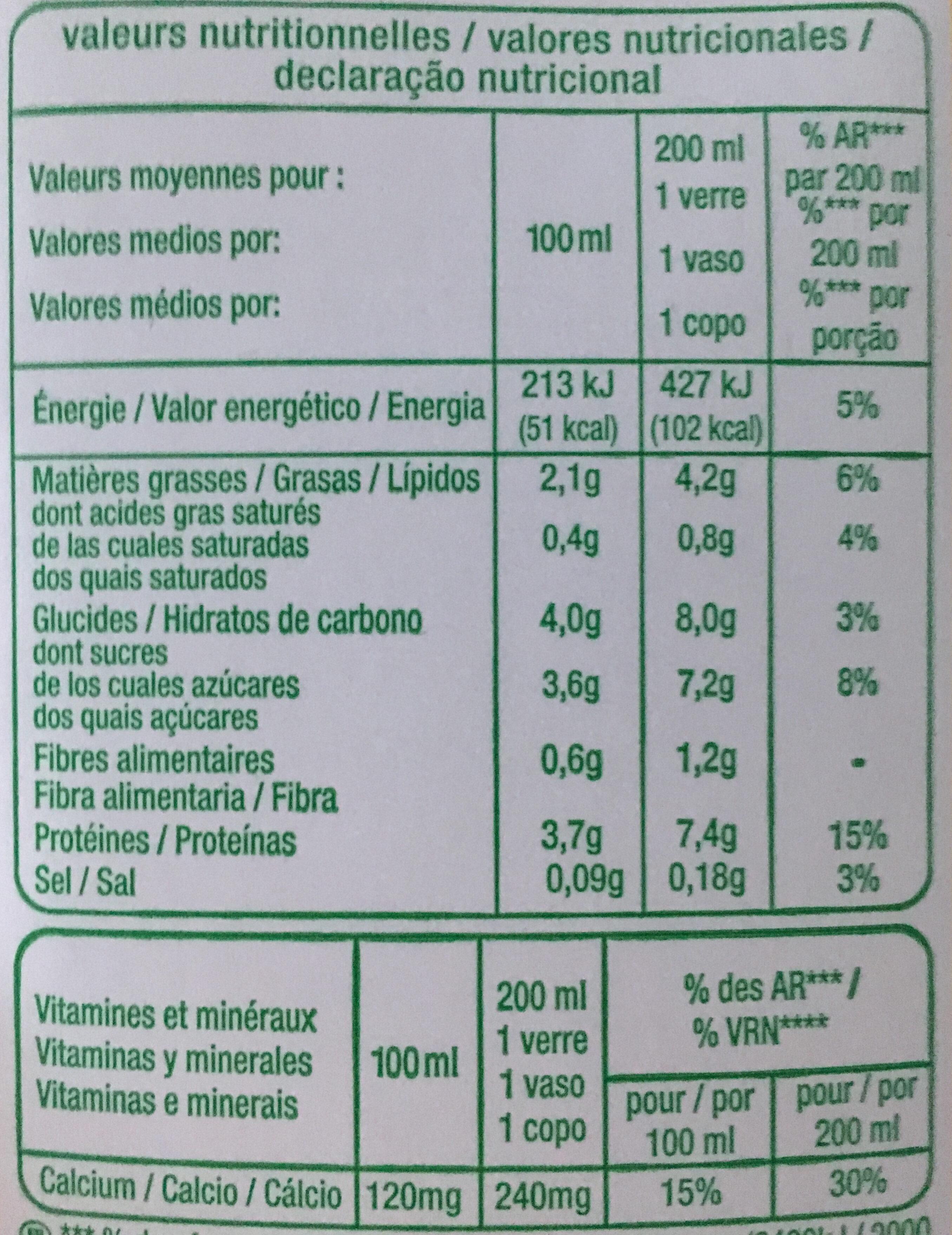 Boisson au soja bio - Informations nutritionnelles - fr