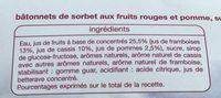 Batonnet sorbet fruit rouge x10 - Ingredients