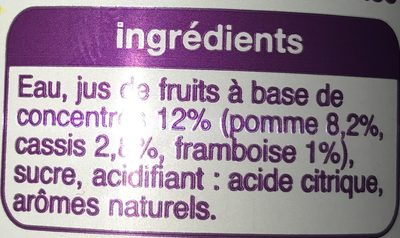 Auchan Apple / Blackcurrant Drink - Pomme Cassis Framboise - Ingredients - fr