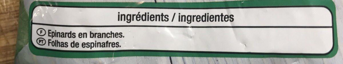 Épinards en branches en portions - Ingredients - fr